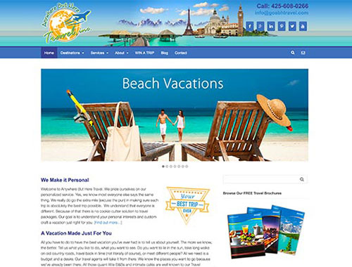 Website Designed for Any Where But Here Travel Vacation Planner