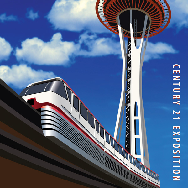 space needle, monorail. poster, century 21 exposition, seattle world's fair, retro poster